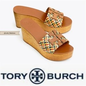 NWT TORY BURCH WOVEN MULTI COLOR INES WEDGE SANDA